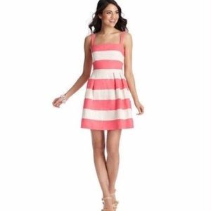 LOFT tan and pink linen fit and flare dress